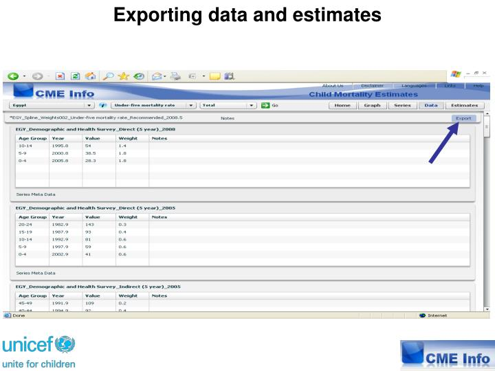 Exporting data and estimates