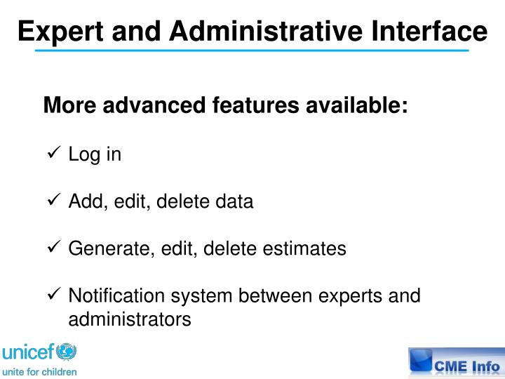 Expert and Administrative Interface