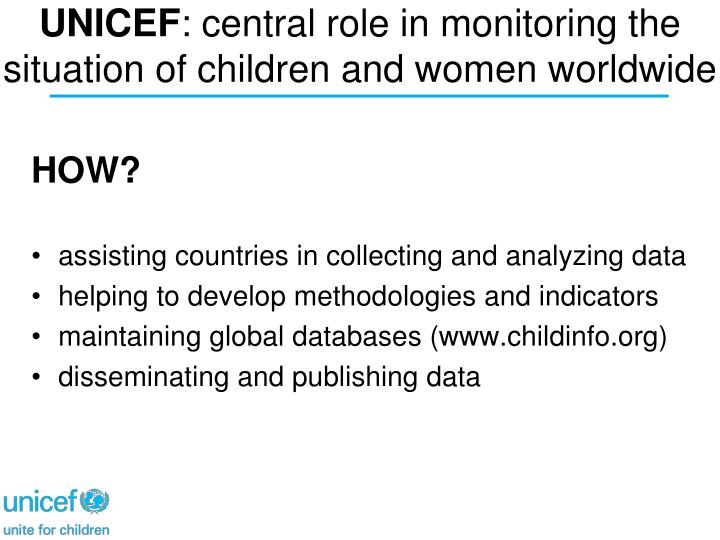 Unicef central role in monitoring the situation of children and women worldwide