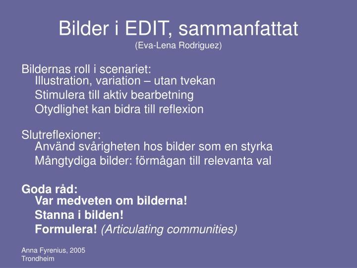 Bilder i EDIT, sammanfattat