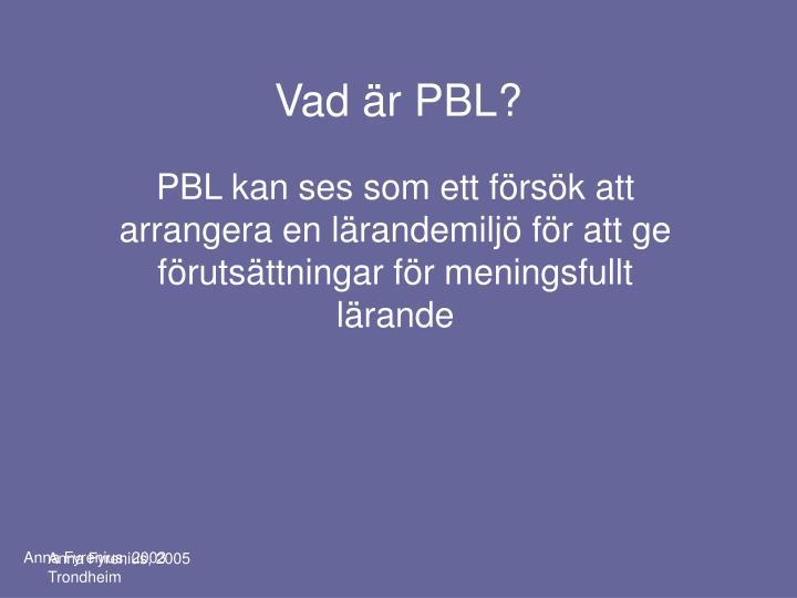 Vad är PBL?