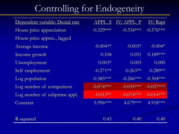 Controlling for Endogeneity