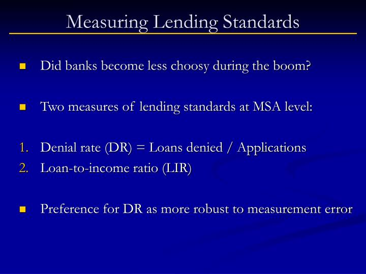 Measuring Lending Standards