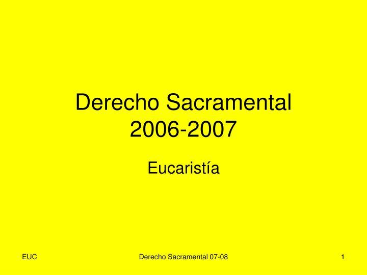 Derecho Sacramental