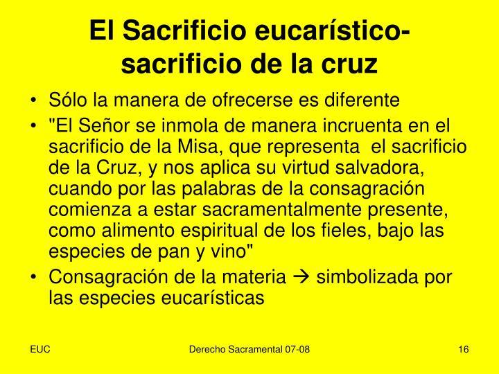 El Sacrificio eucarístico-sacrificio de la cruz