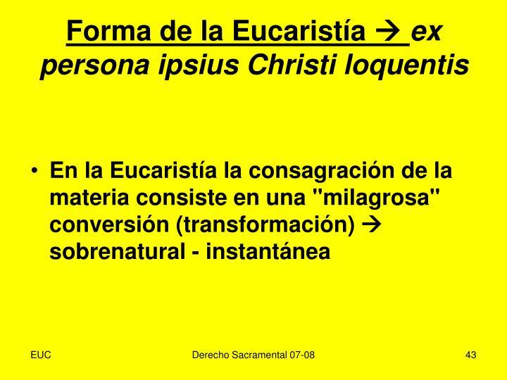 Forma de la Eucaristía