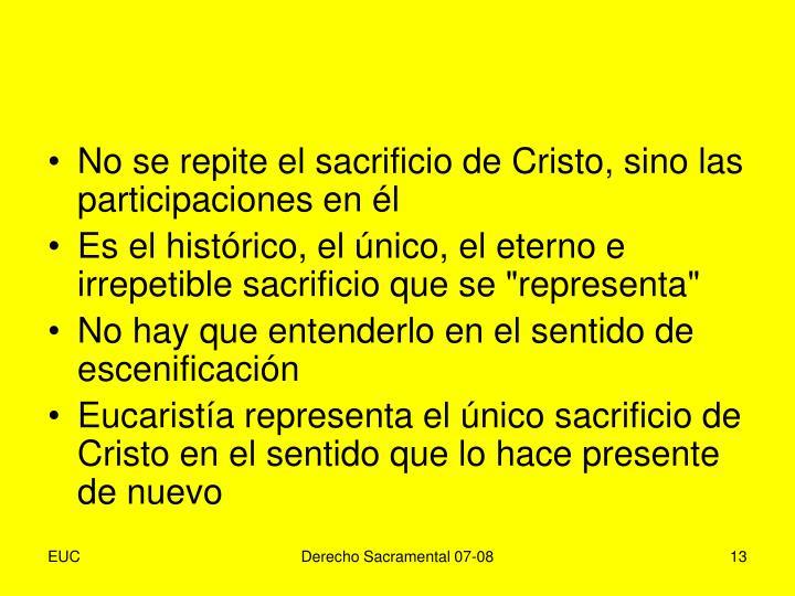 No se repite el sacrificio de Cristo, sino las participaciones en él