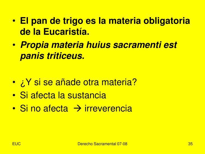 El pan de trigo es la materia obligatoria de la Eucaristía.