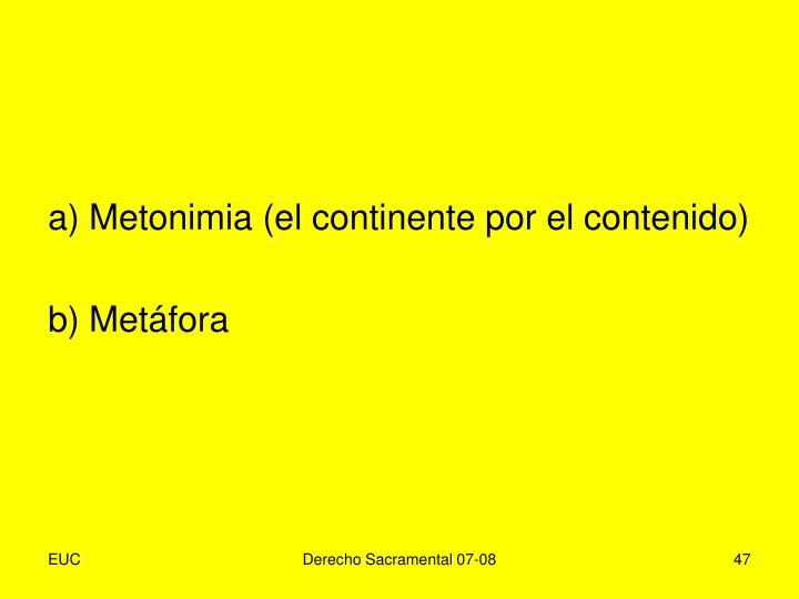 a) Metonimia (el continente por el contenido)