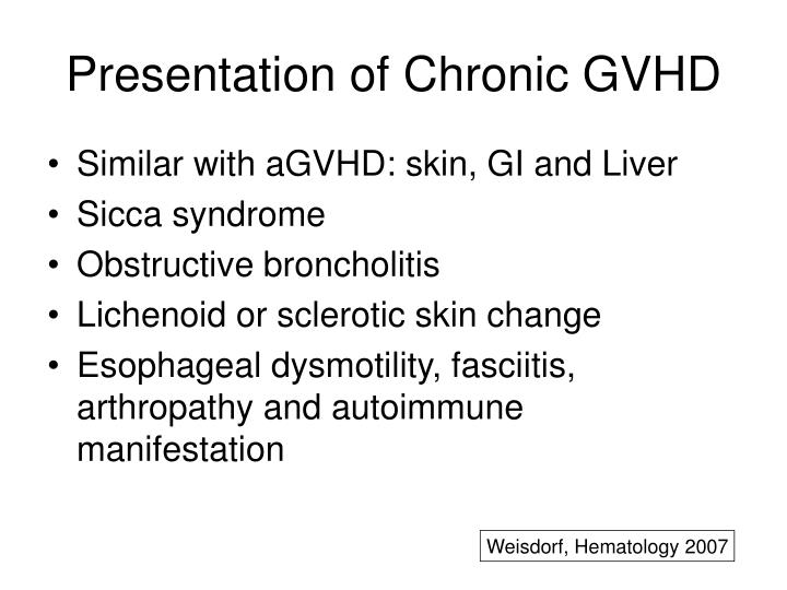 Presentation of Chronic GVHD