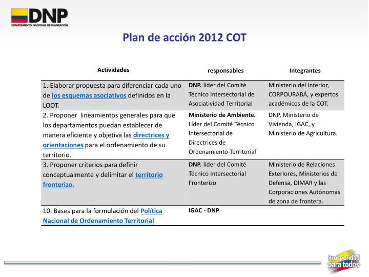 Plan de acción 2012 COT