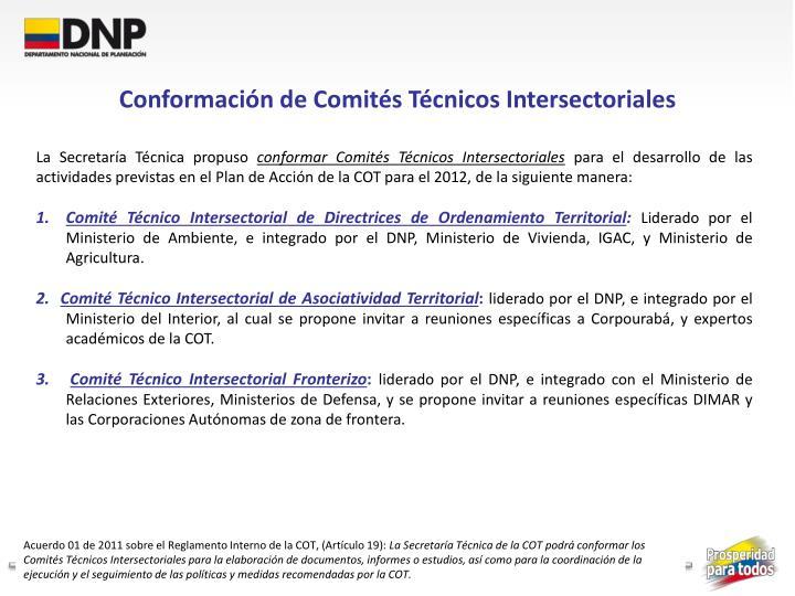 Conformación de Comités Técnicos Intersectoriales