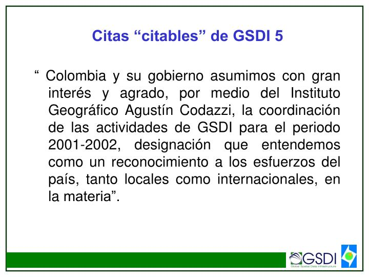 "Citas ""citables"" de GSDI 5"