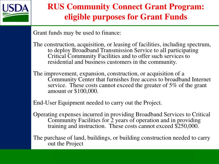 RUS Community Connect Grant Program: eligible purposes for Grant Funds