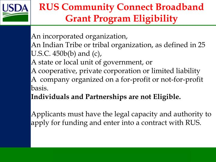 RUS Community Connect Broadband Grant Program Eligibility