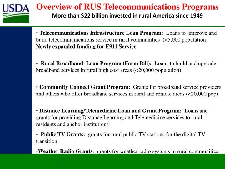 Overview of RUS Telecommunications Programs