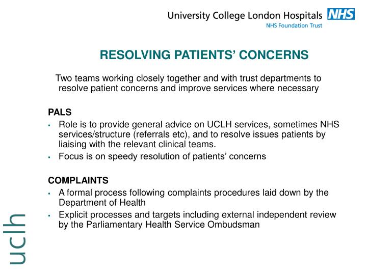 RESOLVING PATIENTS' CONCERNS