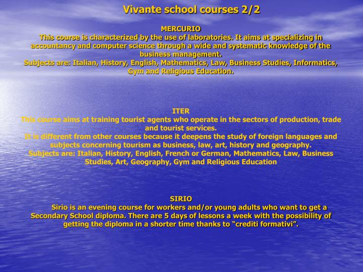 Vivante school courses 2/2