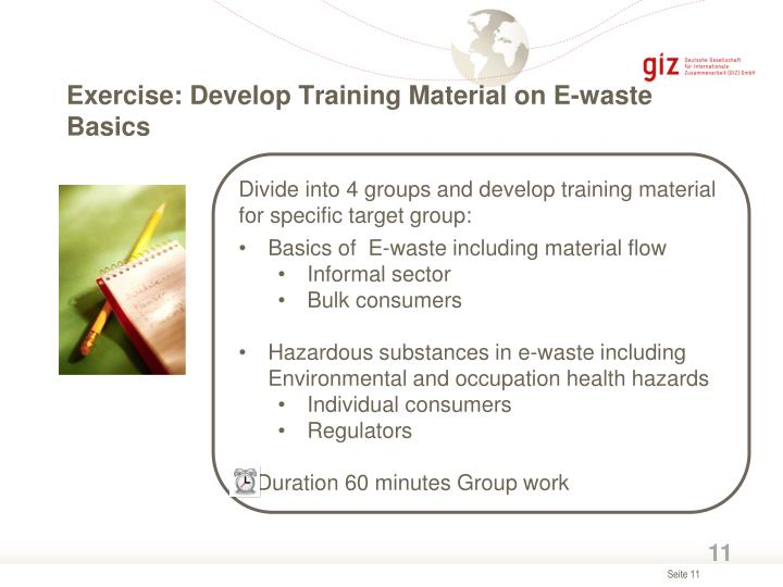 Exercise: Develop Training Material on E-waste Basics