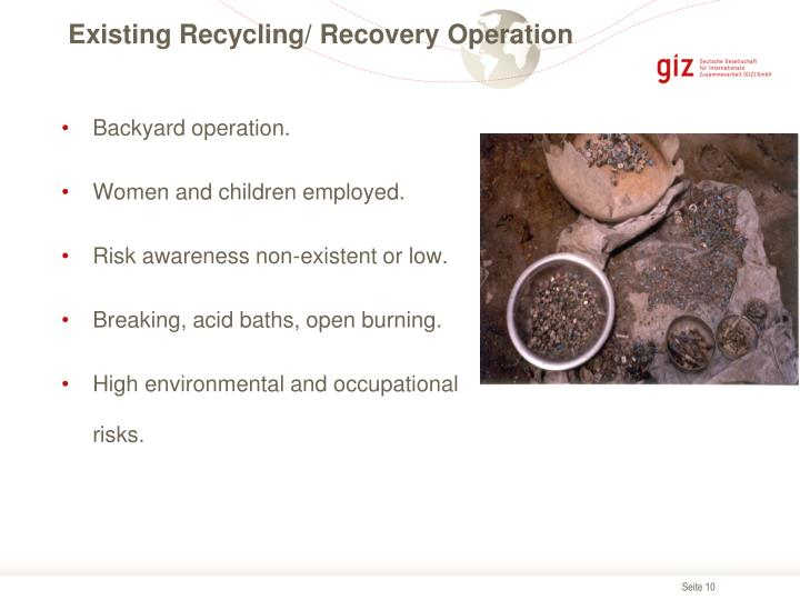 Existing Recycling/ Recovery Operation
