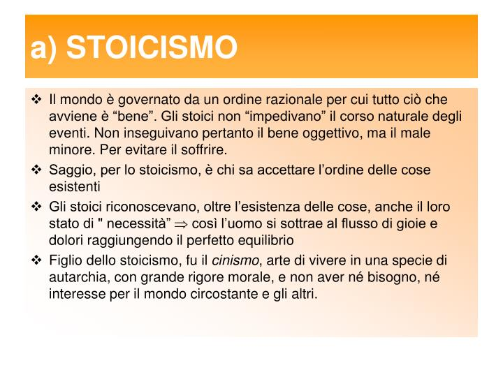 a) STOICISMO