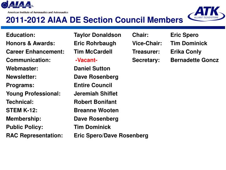 2011 2012 aiaa de section council members
