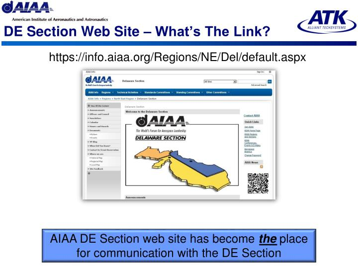 DE Section Web Site – What's The Link?