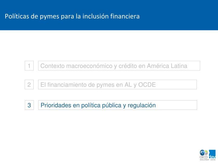 Políticas de pymes para la inclusión financiera