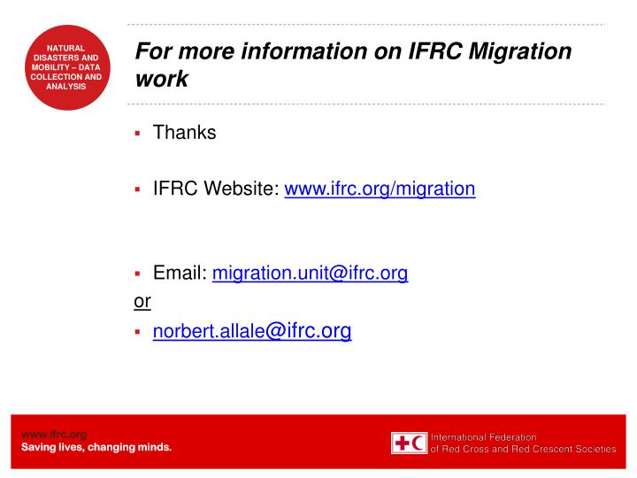 For more information on IFRC Migration work