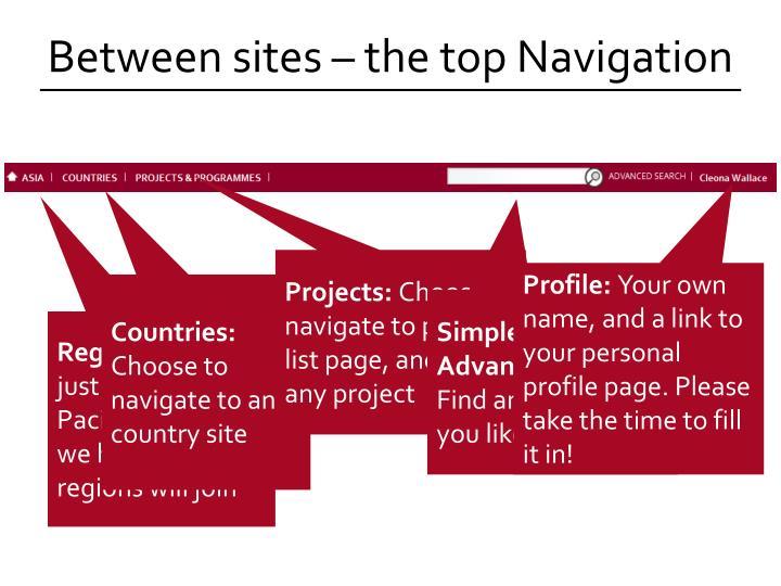 Between sites – the top Navigation