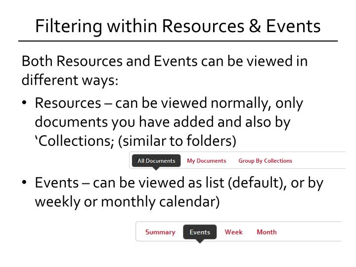 Filtering within Resources & Events