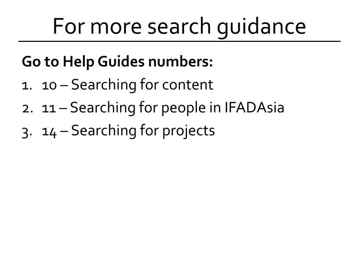 For more search guidance