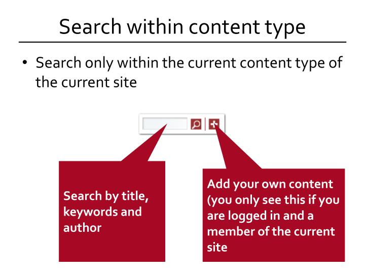 Search within content type