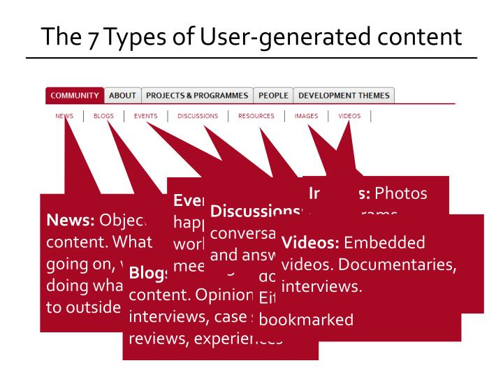 The 7 Types of User-generated content