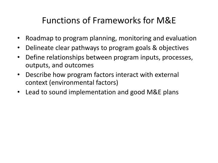 Functions of Frameworks for M&E