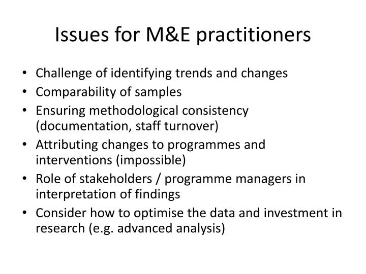 Issues for M&E practitioners