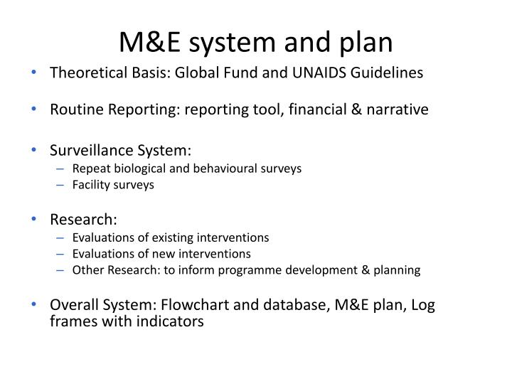 M&E system and plan