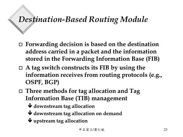 Destination-Based Routing Module