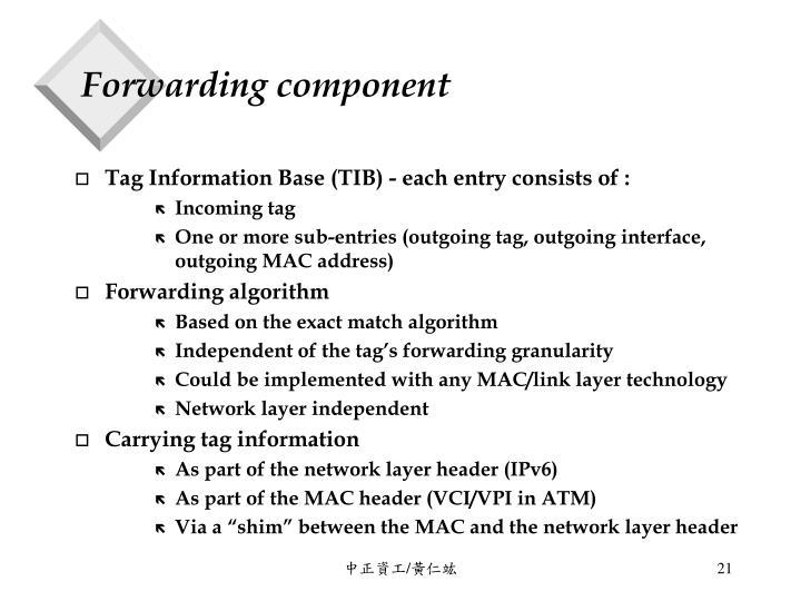 Forwarding component
