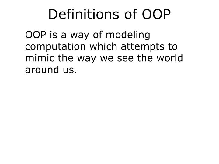 Definitions of OOP
