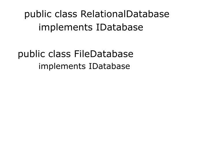 public class RelationalDatabase