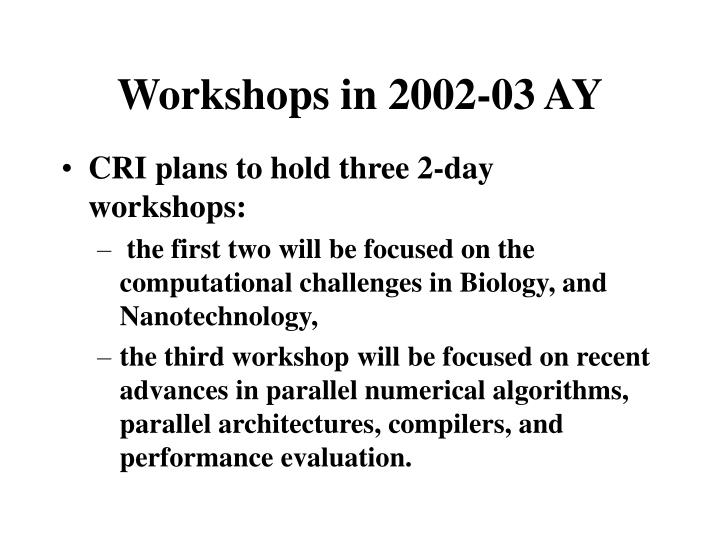 Workshops in 2002-03 AY
