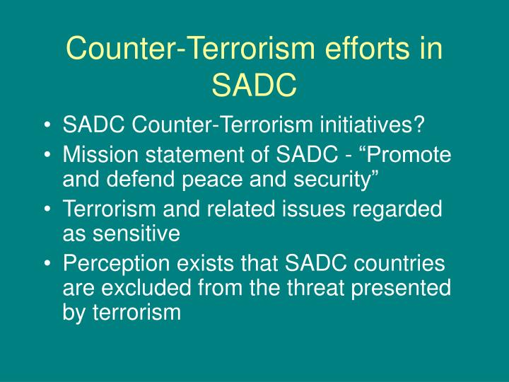 Counter terrorism efforts in sadc