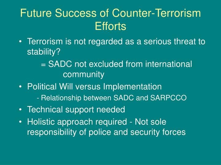 Future Success of Counter-Terrorism Efforts