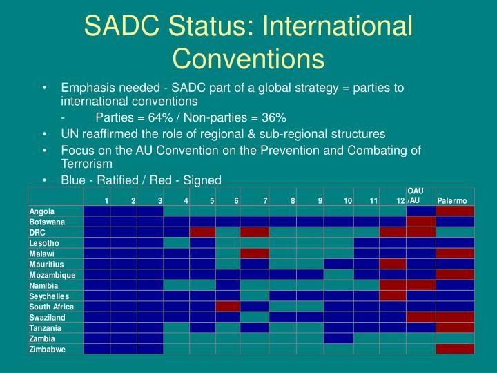 SADC Status: International Conventions