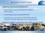 need for community resilience