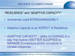resilience and adaptive capacity