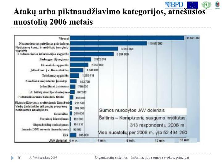 Atakų arba piktnaudžiavimo kategorijos, atnešusios nuostolių 2006 metais