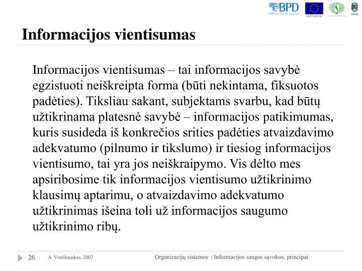 Informacijos vientisumas