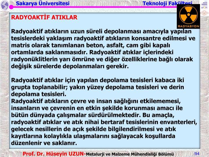 RADYOAKTİF ATIKLAR